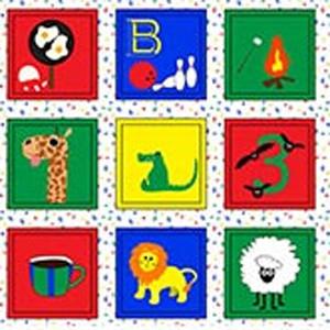 Memory Blocks Kinderstoff Motive für Kinder Panel 35 cm