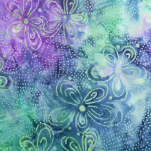 Benartex Bali Blooms blau, lila, mintgrün, türkis