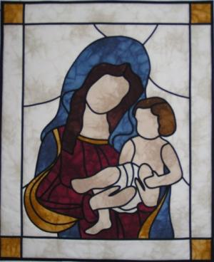 Ave Maria-Bleiglasfenster-fertig genäht