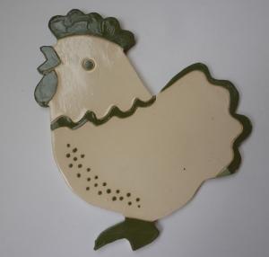 Huhn, groß , Keramik Grün-Creme 1 x lieferbar
